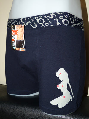 Sebix - Sexy Naked Lady Cotton Boxer Shorts - Navy