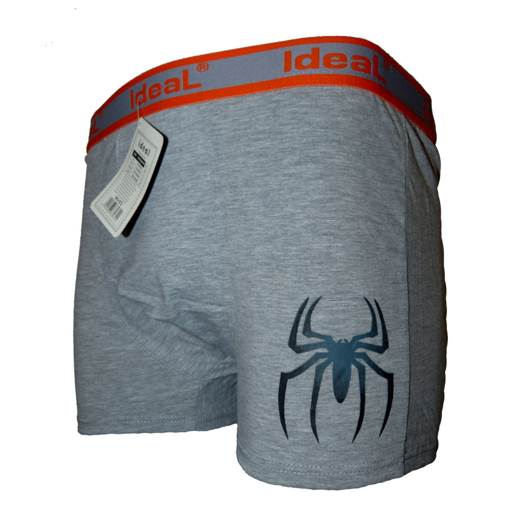Sebix - Boxer Shorts with Spider - Grey/Orange