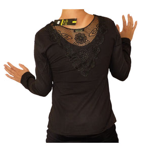 Sebix - Sexy Long Sleeve Crochet Back Top - Black, Back