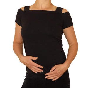 Sebix - Sexy Cold Shoulder Short Sleeve Top - Black