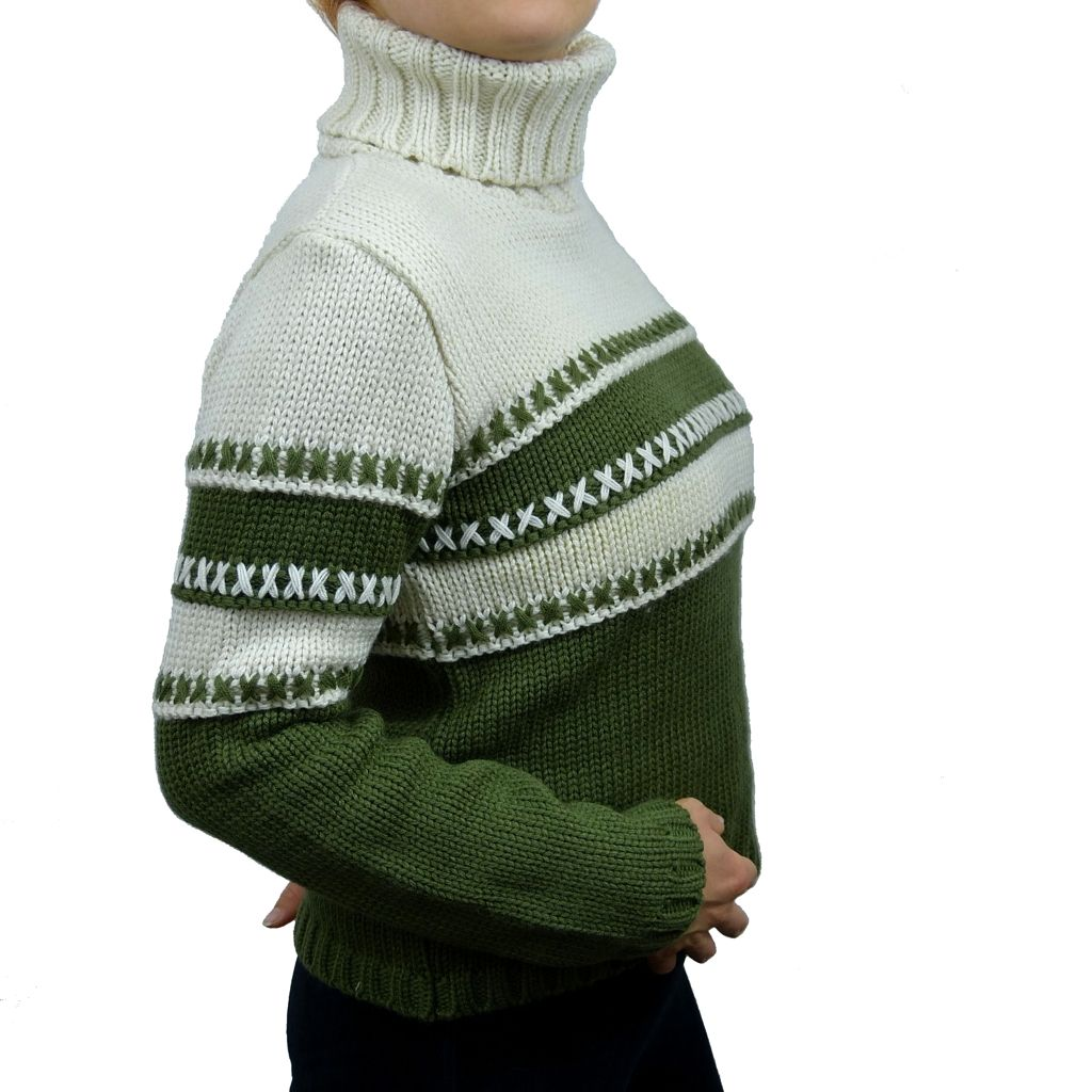 Sebix - Classic Hipster Warm Skiing Turtleneck Jumper - Green - Side