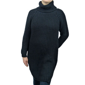Sebix - Long Warm Wool Turtleneck Jumper - Black