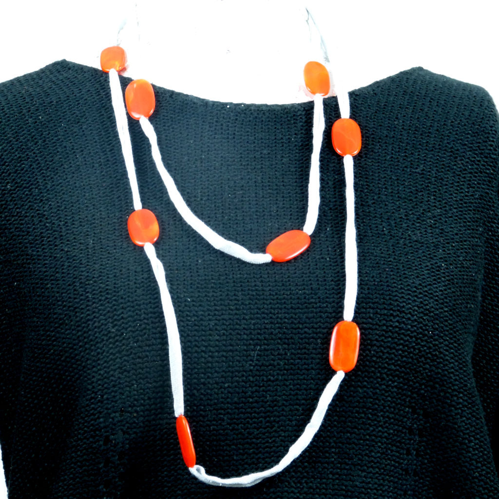 Grey Rebel Style Fabric String Necklace with Red Beads