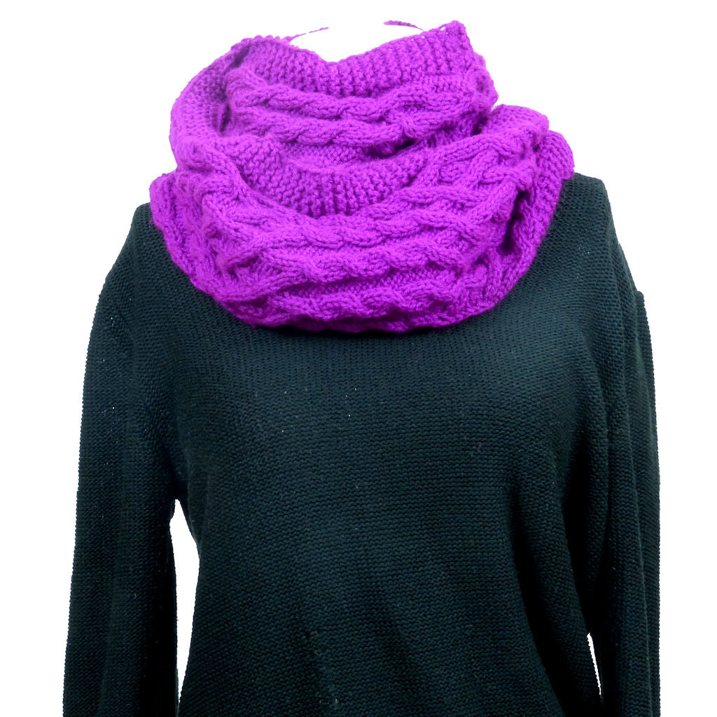 Sebix - Warm Wooly Purple Hat and Snood Scarf - Scarf 1