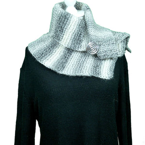 White and Grey Wooly Hat and Scarf Set - Scarf 1