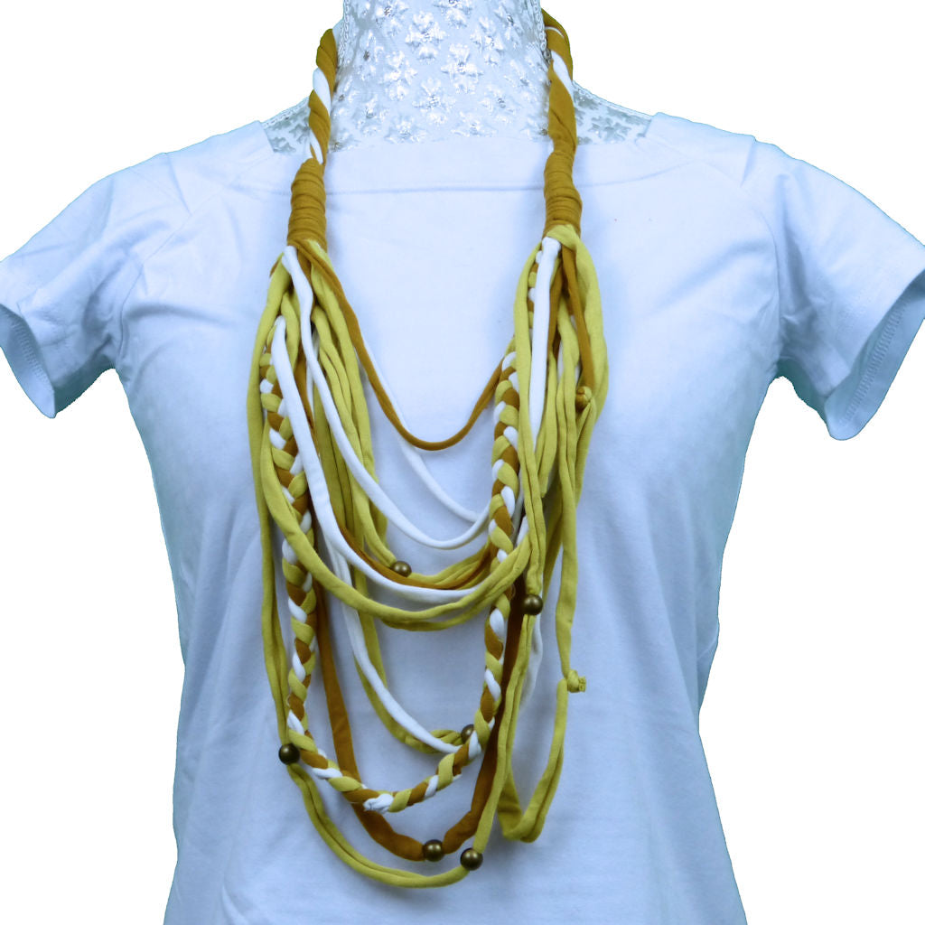 Sebix - 3 Coloured Rebel Style Fabric String Necklace Plait - Variant 3