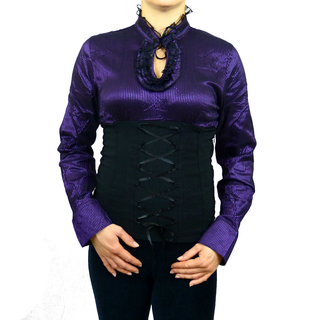 Sebix - Longsleeve Victorian Blouse with Corset - Purple 1