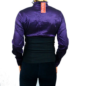 Sebix - Longsleeve Victorian Blouse with Corset - Purple 2
