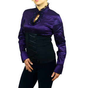 Sebix - Longsleeve Victorian Blouse with Corset - Purple 3