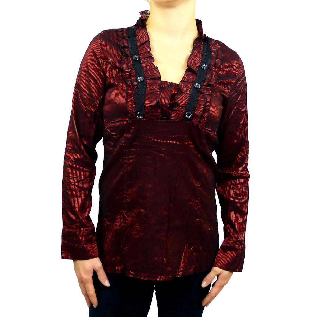 Sebix - Victorian V Neck Long Sleeve Blouse/Shirt with foux Diamonds on - Red 2