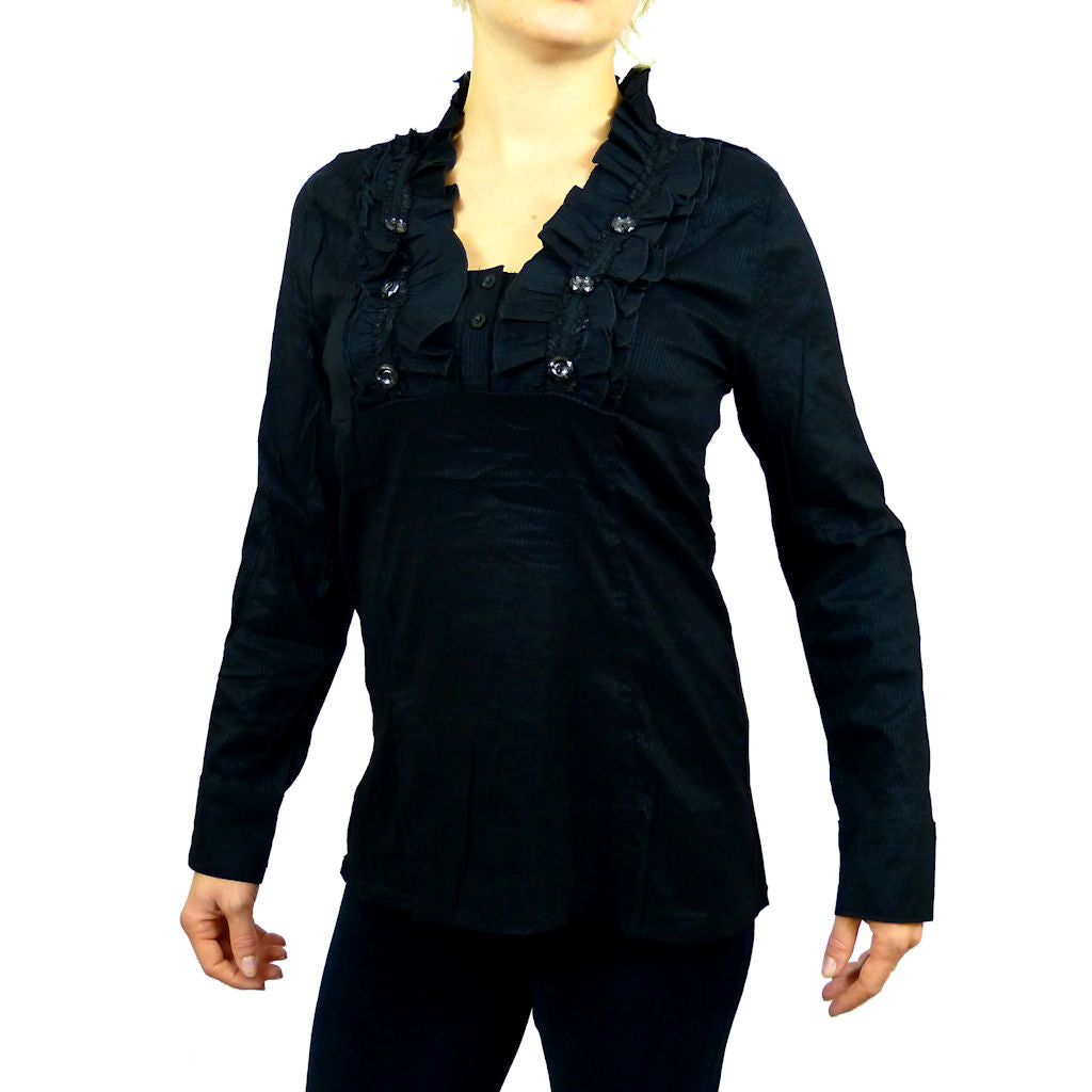 Sebix - Victorian V Neck Long Sleeve Blouse/Shirt with foux Diamonds on - Black