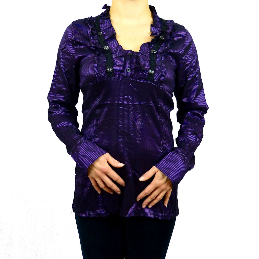 Sebix - Victorian V Neck Long Sleeve Blouse/Shirt with foux Diamonds on - Purple 1