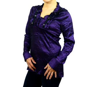 Sebix - Victorian V Neck Long Sleeve Blouse/Shirt with foux Diamonds on - Purple 2