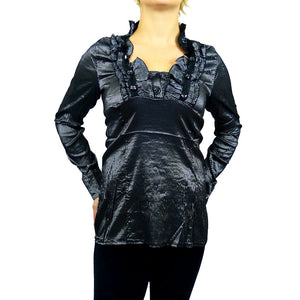 Sebix - Victorian V Neck Long Sleeve Blouse/Shirt with foux Diamonds on - Grey