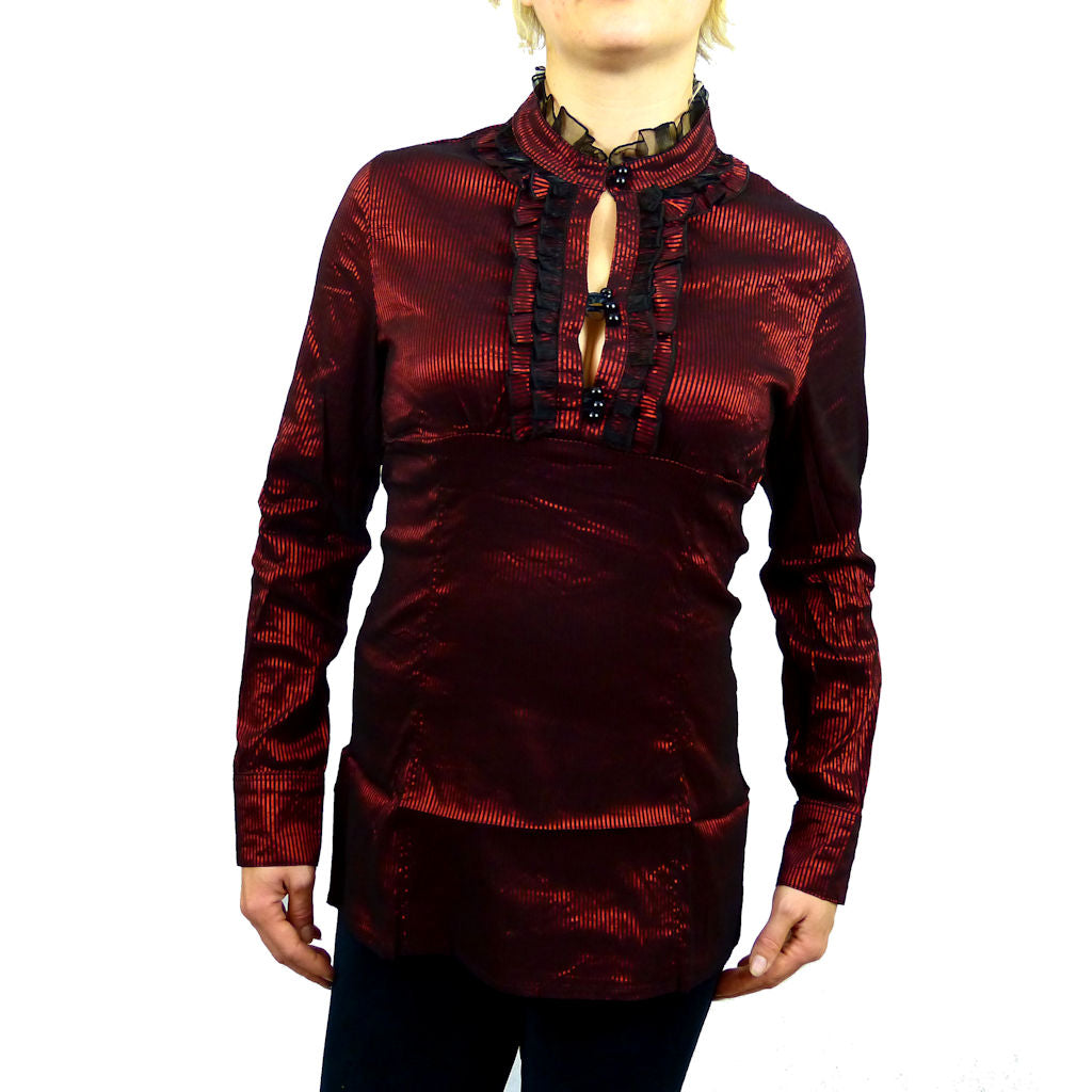 Sebix - Victorian Look Long Sleeve Oriental Style Shirt with Mandarin Collar - Red 1