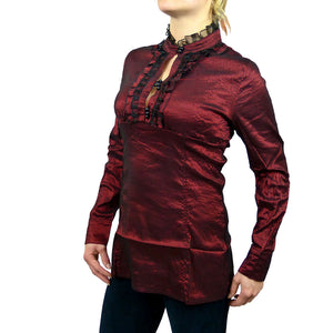 Sebix - Victorian Look Long Sleeve Oriental Style Shirt with Mandarin Collar - Red 2