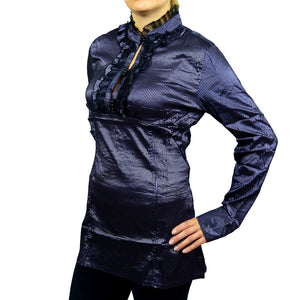 Sebix - Victorian Look Long Sleeve Oriental Style Shirt with Mandarin Collar - Silver/Purple 2