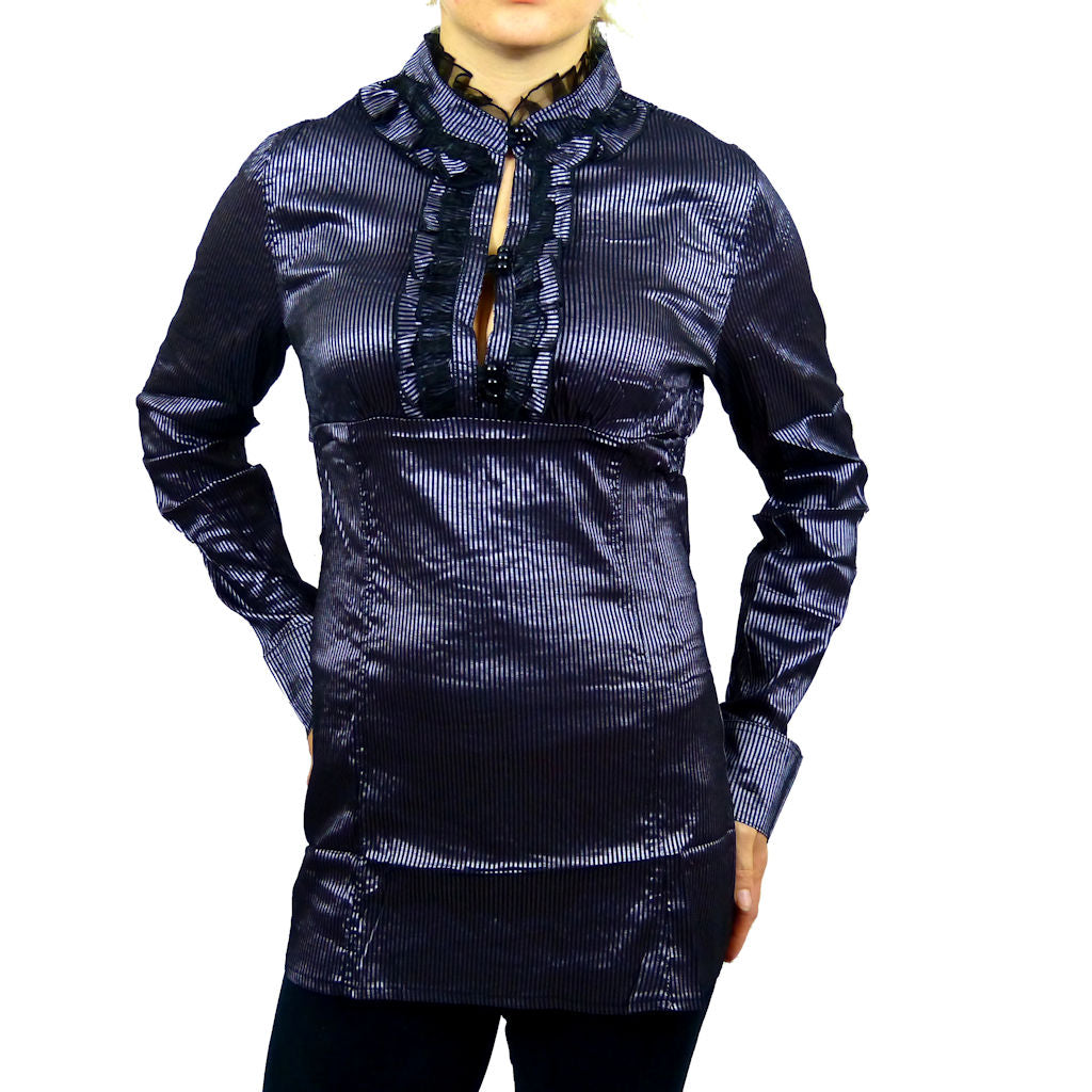 Sebix - Victorian Look Long Sleeve Oriental Style Shirt with Mandarin Collar - Silver/Purple 1