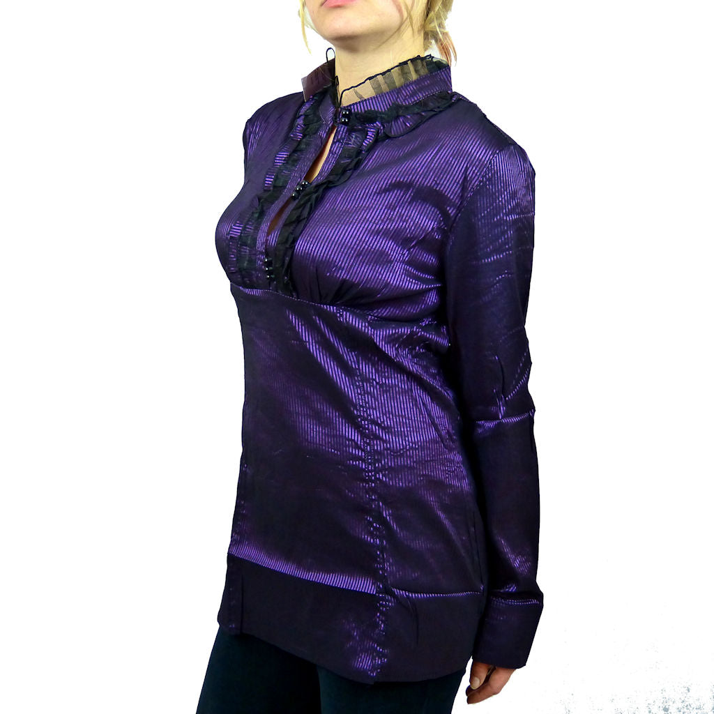 Sebix - Victorian Look Long Sleeve Oriental Style Shirt with Mandarin Collar - Purple