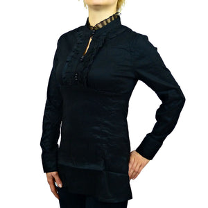 Sebix - Victorian Look Long Sleeve Oriental Style Shirt with Mandarin Collar - Black