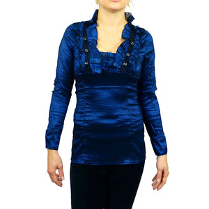 Sebix - Victorian V Neck Long Sleeve Blouse/Shirt with foux Diamonds on - Blue
