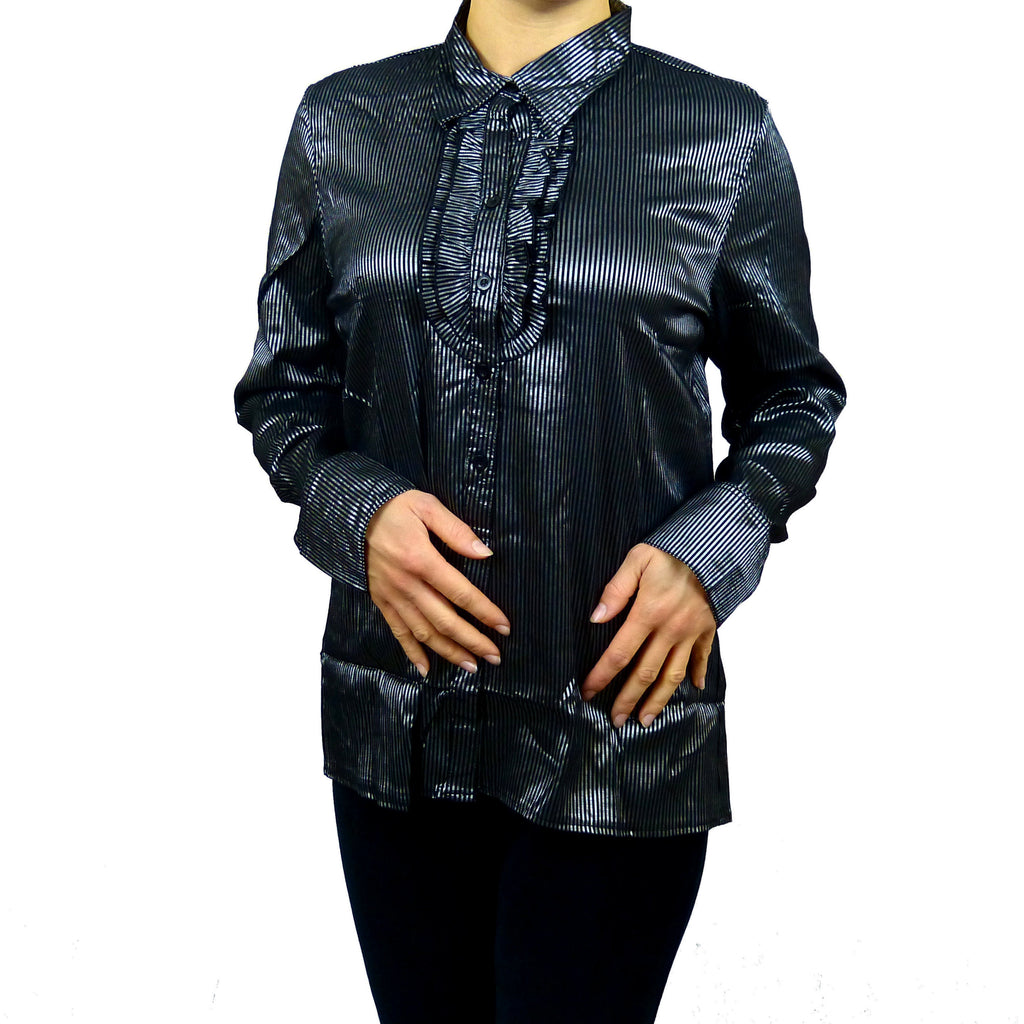 Sebix - Plus Size Victorian Longsleeve Collared Shirt - Grey 1