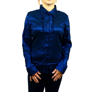 Sebix - Plus Size Victorian Longsleeve Collared Shirt - Blue