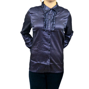 Sebix - Plus Size Victorian Longsleeve Collared Shirt - Silver/Purple