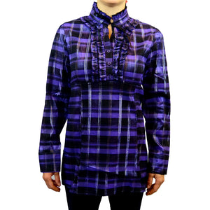 Sebix - Victorian Long Sleeve Checked Shirt with Tie-up Mandarin Collar - Purple 1