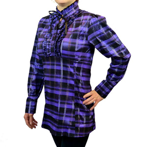 Sebix - Victorian Long Sleeve Checked Shirt with Tie-up Mandarin Collar - Purple 2