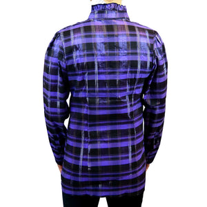 Sebix - Victorian Long Sleeve Checked Shirt with Tie-up Mandarin Collar - Purple 3