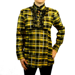 Sebix - Victorian Long Sleeve Checked Shirt with Tie-up Mandarin Collar - Yellow 1