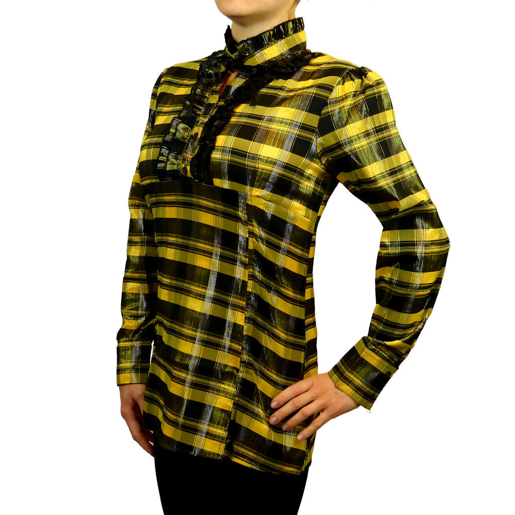 Sebix - Victorian Long Sleeve Checked Shirt with Tie-up Mandarin Collar - Yellow 2