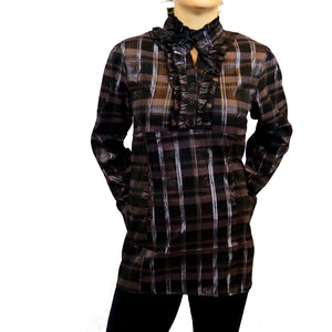 Sebix - Victorian Long Sleeve Checked Shirt with Tie-up Mandarin Collar - Brown 1