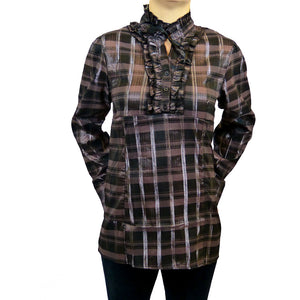 Sebix - Victorian Long Sleeve Checked Shirt with Tie-up Mandarin Collar - Brown 2