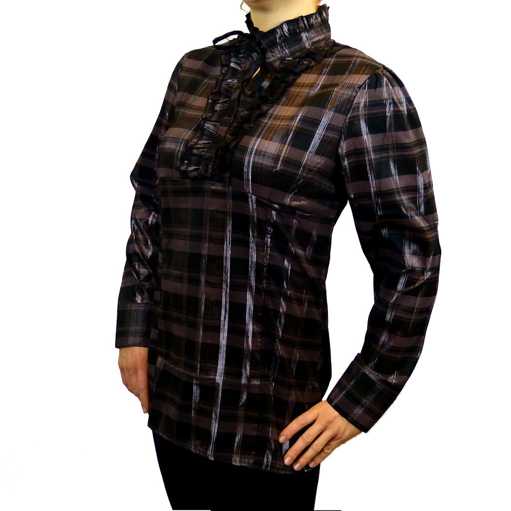 Sebix - Victorian Long Sleeve Checked Shirt with Tie-up Mandarin Collar - Brown 3