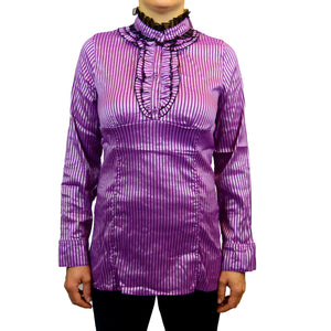 Sebix - Victorian Long Sleeve Blouse with Mandarin Collar - Pink 1