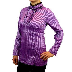Sebix - Victorian Long Sleeve Blouse with Mandarin Collar - Pink 2