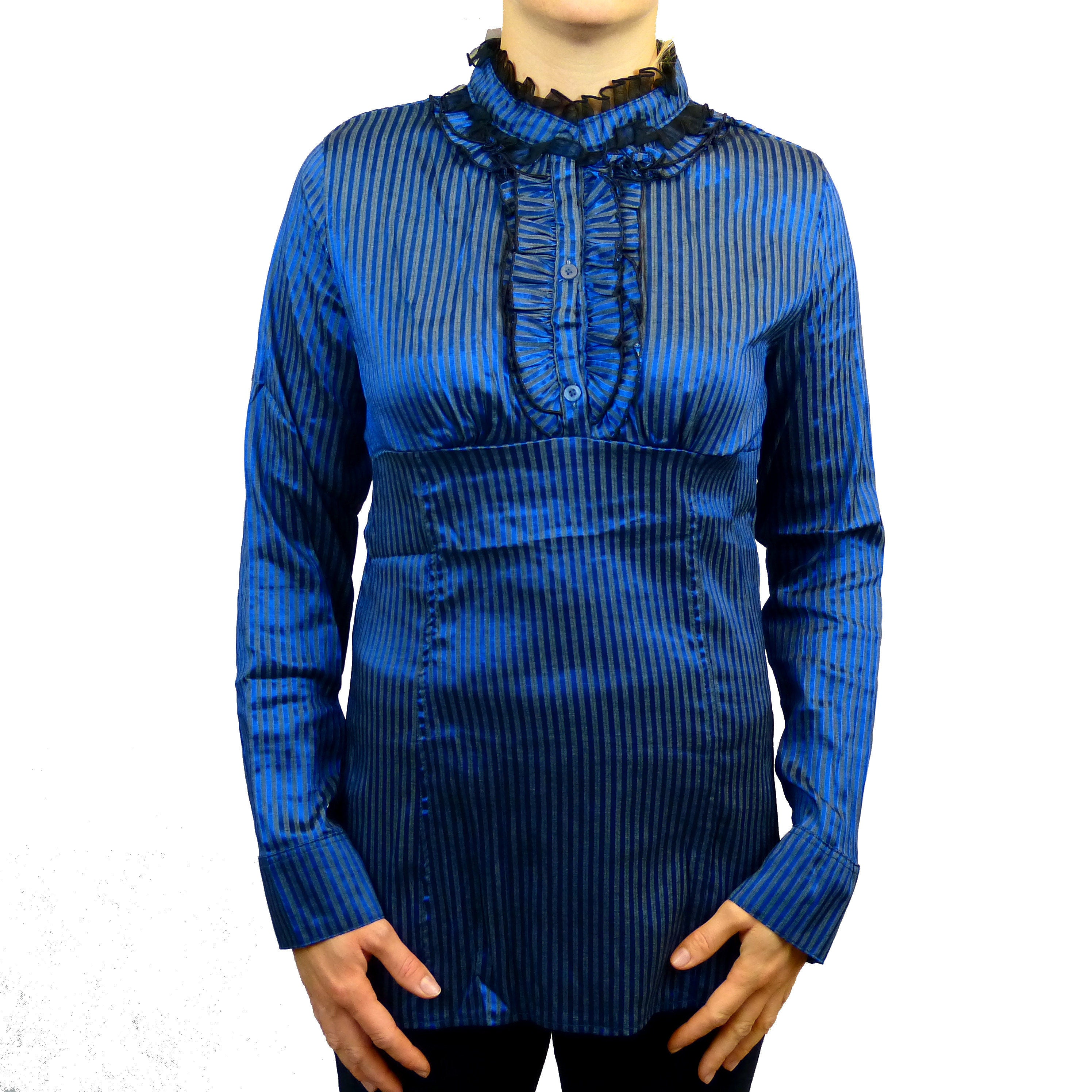Sebix - Victorian Long Sleeve Blouse with Mandarin Collar - Blue