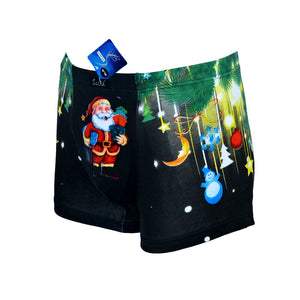 Sebix - Xmas Santa Cotton Boxer Shorts - Black - Front 2