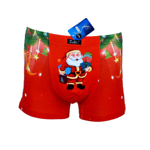 Sebix - Xmas Santa Cotton Boxer Shorts - Red - Front 2