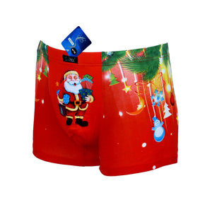 Sebix - Xmas Santa Cotton Boxer Shorts - Red - Front 1