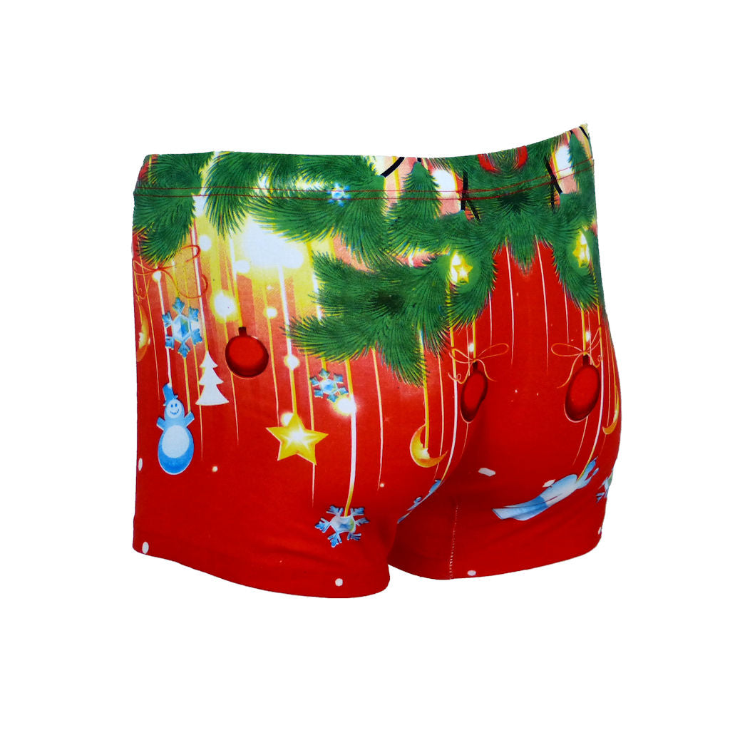 Sebix - Xmas Santa Cotton Boxer Shorts - Red - Back 1