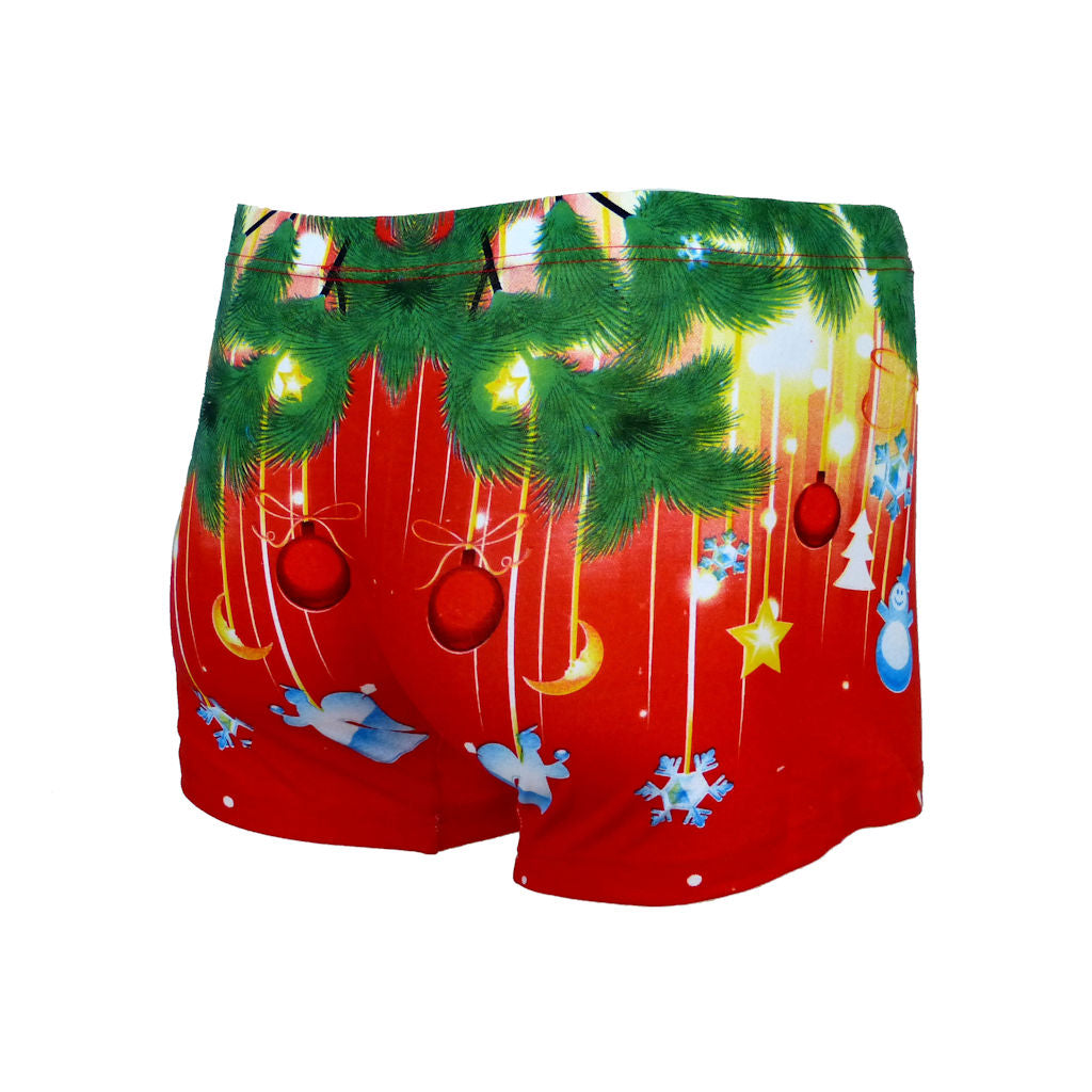 Sebix - Xmas Santa Cotton Boxer Shorts - Red - Back 2