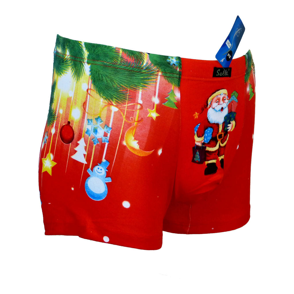 Sebix - Xmas Santa Cotton Boxer Shorts - Red - Front 3