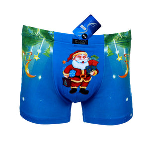 Sebix - Xmas Santa Cotton Boxer Shorts - Blue - Front 1