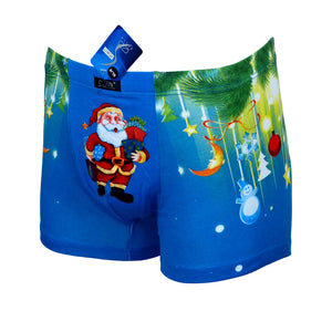 Sebix - Xmas Santa Cotton Boxer Shorts - Blue - Front 2