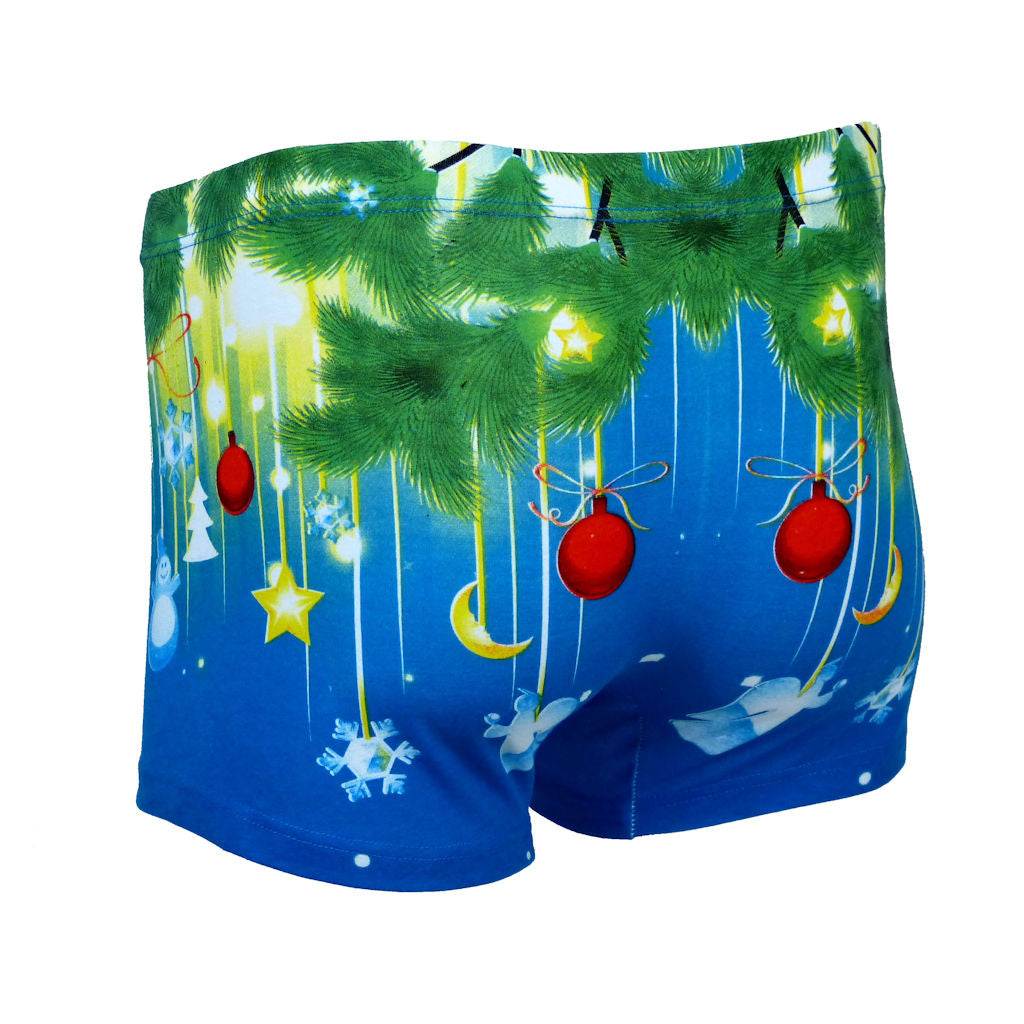 Sebix - Xmas Santa Cotton Boxer Shorts - Blue - Back 1
