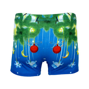 Sebix - Xmas Santa Cotton Boxer Shorts - Blue - Back 2