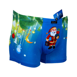 Sebix - Xmas Santa Cotton Boxer Shorts - Blue - Front 3